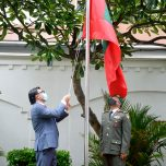 Flag hoisting Ceremony held at the High Commission on the Occasion of the 56th Anniversary of Independence Day
